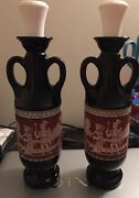 2 Vintage 1961 Jim Beam Liquor Bottles Grecian Glass Decanters W/ Stoppers