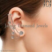 14k Rose Gold Natural Pave Diamond Chain Wrap Clip Ear Cuff Earrings Jewelry New