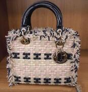Christian Dior Lady Dior Tweed Patent Leather Beige Pink Navy Hand Tote Bag Rare