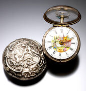 Antique Verge Fusee English Repousse Pair Case Pocket Watch C1770   Painted Dial