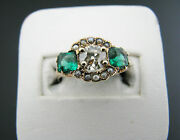 A878 Gorgeous Vintage .82 Ct Diamond And Seed Pearl Ring In 14k Yellow Gold