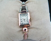 A837 Beautiful Vintage Women's 14k Rose Gold Longines Watch With Diamonds And Ruby