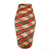Fratelli Toso And039a Canneand039 Vase In Red Yellow And Black Murano Italy Ca. 1965