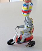 Germany Md Usa Zone Tin Elephant On Scooter Wind Up Toy Vintage Moves And Spins