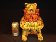 Stunning And Large Breininger Redware Pottery Bear And Bear Cubs Figurine, 1995