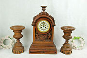 Antique French Wood Carved Clock Putti Angel Candle Holders Set