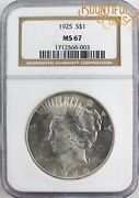 1925 Ngc Ms 67 Peace One Dollar 1 Mint State L78