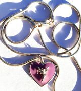 Disney Couture Tinkerbell Sterling Silver Purple Enamel Heart .925 Necklace