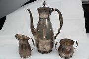 Vintage Estate Reed And Barton 'far East' Sterling Silver 3 Pc Tea Set W/ Dents