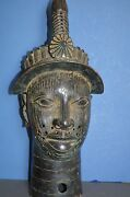 Very Large 57 Cm Tall Mid 20th Century African Benin Tribal Bronze Bustc 1950