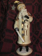 16 Folk Art Father Christmas Winter White Santa Claus And Primitive Doll, Sign