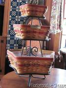 Longaberger Christmas Star Basket Set Trio,liners, Protectors Wrought Iron Stand