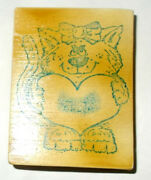 Vintage Cat Rubber Stamp Girl Bow In Hair Heart Valentines Day Wood Mounted Cute
