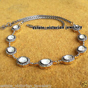 7.23cts Natural Rose Antique Cut Diamond Silver Vintage Tennis Necklace Jewelry