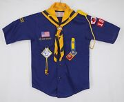 Vtg Cub Scout Collarless Blue Short Sleeve Shirt Size 12 Scarf And Holder - Mint