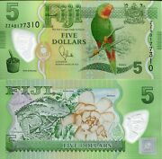 Fiji 5 Dollars Banknote World Polymer Money Unc Currency Pick P115r Replacement