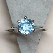 Natural 1ct Swiss Blue Topaz 925 Solid Sterling Silver Traditional Ring 5.75