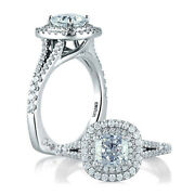 A.jaffe Classic Double Halo Cushion Engagement Ring Mes574
