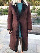 Vintage Shearling Fur Lined/brown Womenand039s Suede Coat Small Leather Pockets
