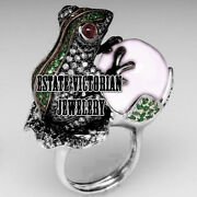 3.47cts Rose Cut Diamond Gemstone Studded Silver Vintage Style Frog Ring Jewelry