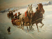 Vintage Huge Russian Canvas Oil Painting Sleigh Ride With Horses Winter Scene