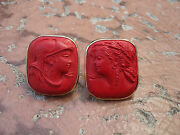 Vintage Hand Made Huge Woman Bust Carved Lava Red Stone 14k Gold Clip Earrings