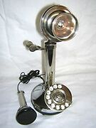 Antique / Vintage Look Silver Candlestick Telephone Rotary Dial Phone