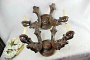 Pair Huge Antique Wood Carved French Dragon Gothic Castle Wall Lights Sconces