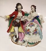 Volkstedt Dresden Porcelain Figurine Lady And Gentleman Reading On Sofa 5