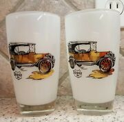Dodge Antique Car Beer Glasses White Frosted Glass Gold And Black 12 Fl. Oz.