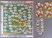 Antique 1925 White Rose Gasoline En-ar-co Motor Oil Auto Board Game With Extras