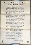 Original Wwi President Wilson To People Of The United States Letter Poster 22x31