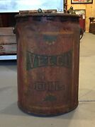 Rare Early Velco Oil Irving Gas Service Station 5 Gal Metal Can Sign Look