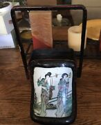 Vintage Chinese Lacquer And Porcelain Stacked Wedding Box/lunch Box