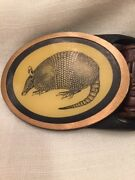 Vintage 1970s Armadillo Solid Brass Tech-ether Guild Art Belt Buckle Made In Usa