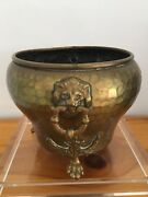Vintage Antique Russian Hand-hammered Brass Planter W/ Lions Heads And Paws Feet