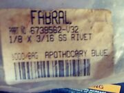 Fabral Pop Rivets Stainless Steel 1/8 X 3/16 Apothocary Blue Approx. 250