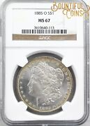 1885 O Ngc Ms 67 Morgan Silver One Dollar 1 Rim Toned Mint State M22