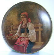 Important Antique Russian Folk Oil On Wood Lot Of 3 Paintings Circa1900