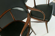 Mid Century Lawrence Peabody Pair Bentwood Mahoganyandfaux Black Leather Chairs