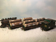 Ho - Steam Locomotive 2 Flat Cars With Loads And Caboose - Weathered Serviced