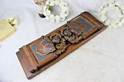 French Medieval Knight Armor Shield Wood Carved Book Ends 1950