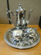 Silver Plate Tea-coffee Set With Tray Wm. Rogers International Silver Co.