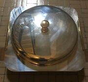 Vintage Laslo For Towle Silverplate Covered Serving Dish W/pyrex Insert Italy