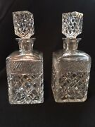 Two Vintage Crystal Square Cut Glass Whiskey Decanters