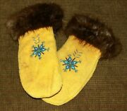 Hand Made Native American Alaskan Suede Mittens Adorned W/ Beads And Fur