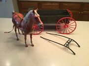 Vintage Marx Buckboard W/ Thunderbolt Horse Accessories Used Best Of West
