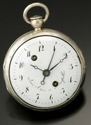 Antique Silver Verge Alarm Pocket Watch Ca1710s   French Louis Cure Early Alarm