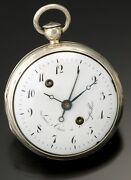 Antique Silver Verge Alarm Pocket Watch Ca1710s | French Louis Cure, Early Alarm