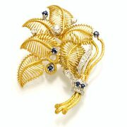 Artistic 18k Yellow Gold Diamond And Sapphire Leaf Style Brooch